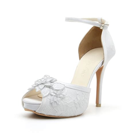 white lace platform wedding shoes onewed