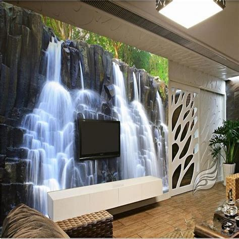 bedroom waterfalls 3d stereoscopic wallpaper mountain water waterfall tv backdrop wallpaper living room