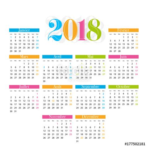 agenda anual 2018 la quot calendrier 2018 quot stock image and royalty free vector files on fotolia com pic 177502181