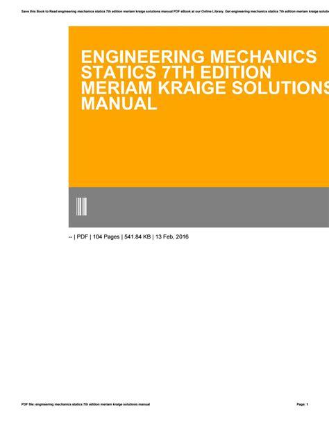 engineering mechanics statics  edition meriam kraige solutions manual  wulanamartha issuu
