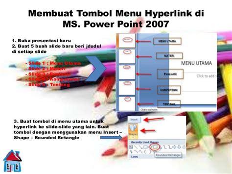 membuat tombol menu hyperlink di powerpoint 2007 staff tik kelas ix bab 3