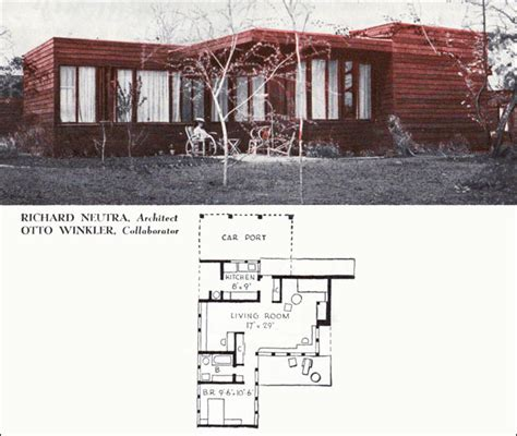1940 House Plans by 1940 Neutra Cottage One Bedroom Small House American