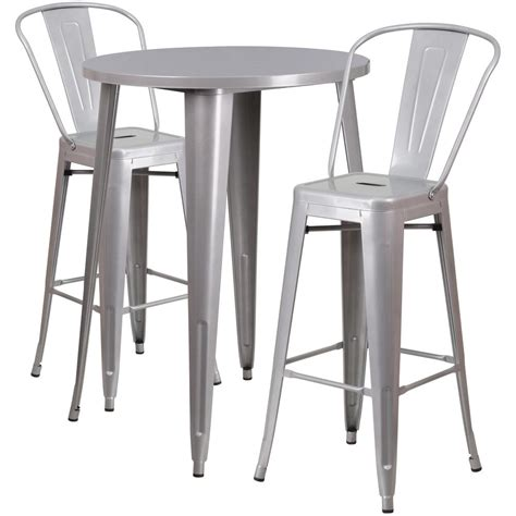 bar table set flash furniture 30 in silver metal indoor outdoor