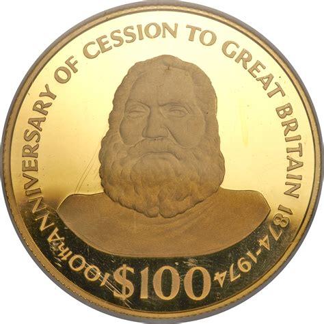 Ratu Gold 100 dollars elizabeth ii king ratu fiji numista