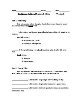 The Boxcar Children Book 1 Chapters 1-2 Test Version B by