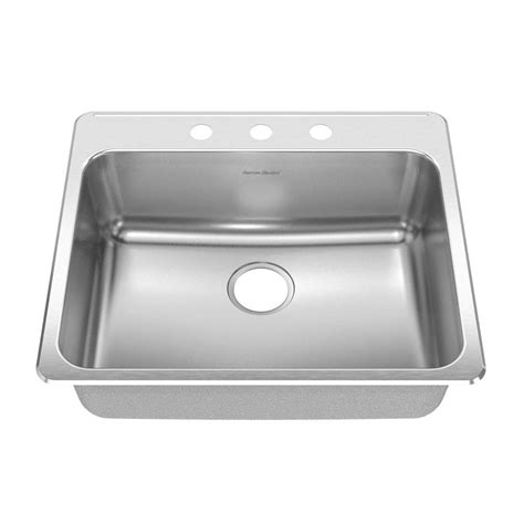 American Standard Stainless Steel Kitchen Sinks American Standard Prevoir Top Mount Brushed Stainless Steel 25 In 3 Single Bowl Kitchen