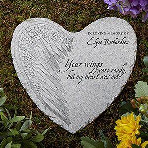 wings personalized memorial heart garden stone