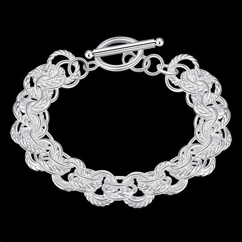 Gelang Rantai Geometris Perak la vie perak 925 tiga lingkaran bulat gelang rantai putih