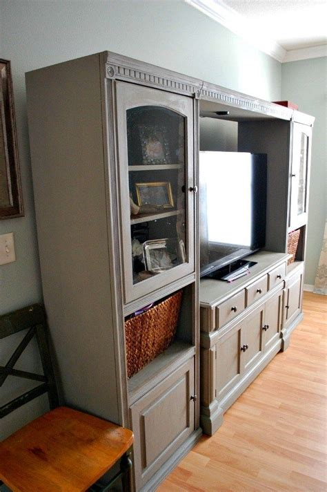 entertainment center makeover on pinterest painting oak 1000 ideas about painted entertainment centers on