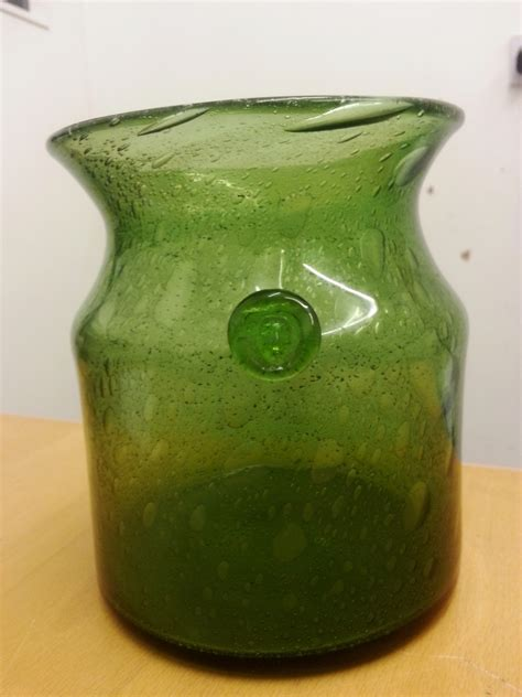 Glass Jar Vase by Unknown Green Glass Jar Vase With Prunt
