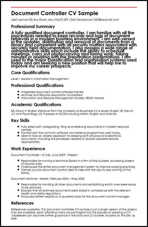 Sle Resume For Document Controller document controller cv sle myperfectcv