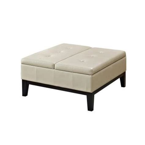 cream leather ottoman coffee table simpli home dover faux leather 1 piece coffee table