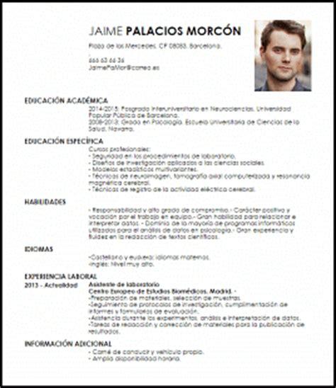 Modelo Curriculum Vitae Psicologo Modelo Curriculum Vitae Ayudante De Investigaci 243 N En Psicolog 237 A Livecareer
