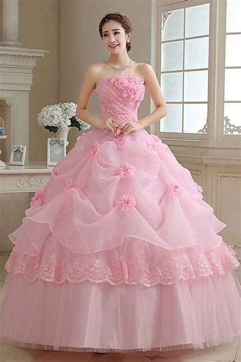 Dress Princes pink color strapless princess wedding gown