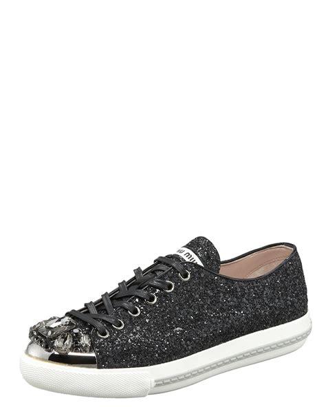 miu miu sneakers miu miu bejeweled glitter sneaker in black lyst