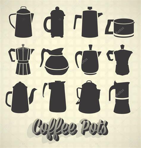 retro vintage style icon collection stock illustration vector set vintage coffee pot silhouette icons stock