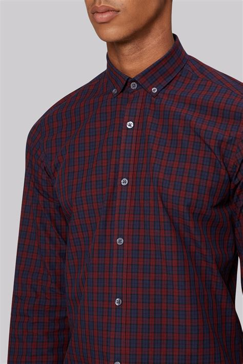 Kemeja Slim Fit Vino Navy moss slim fit wine and navy check button