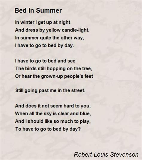 meaning of bed bed in summer poem by robert louis stevenson poem