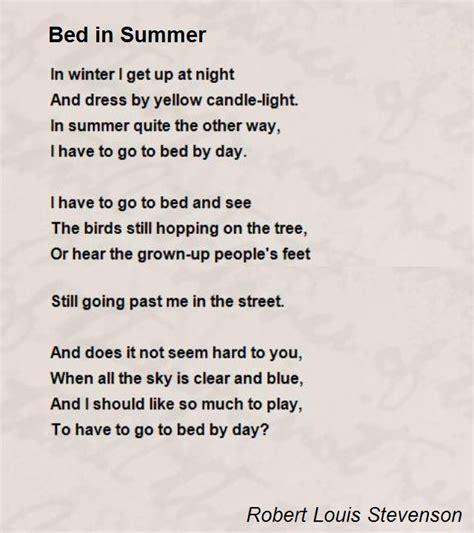 bed in summer bed in summer poem by robert louis stevenson poem hunter