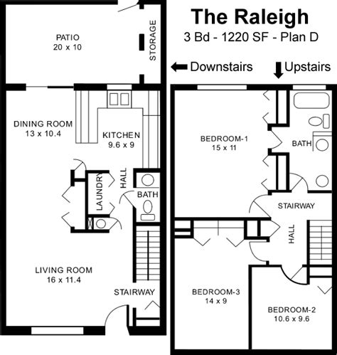 the u raleigh floor plans the raleigh d 3 bed 1 5 bath
