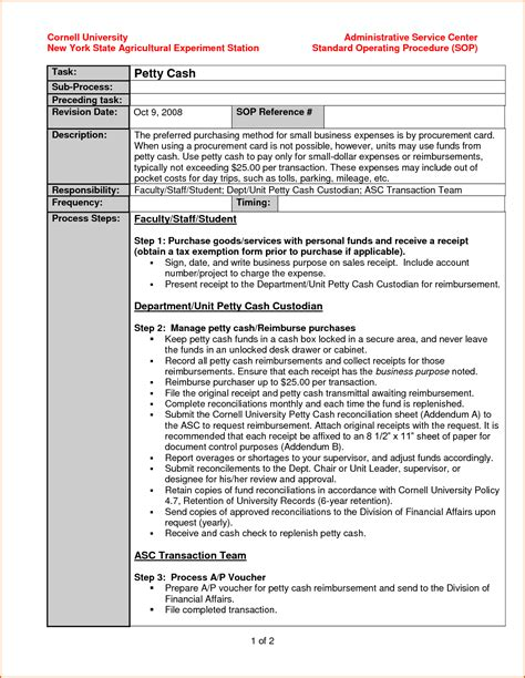 standard will template free 10 standard operating procedure template