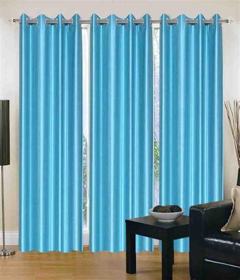 plain blue eyelet curtains madhav product set of 3 door eyelet curtains solid blue