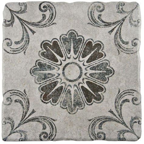 merola tile costa cendra decor fleur 7 3 4 in x 7 3 4 in ceramic floor and wall tile 11 5 sq