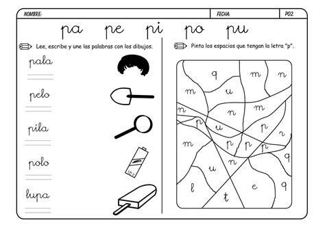 fichas letras con pictogramas letra lectoescritura y vocabulario con la letra p