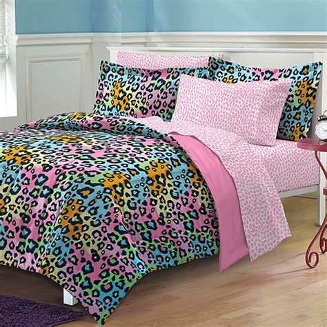 leopard bed set neon leopard pink black comforter sheets sham set dorm
