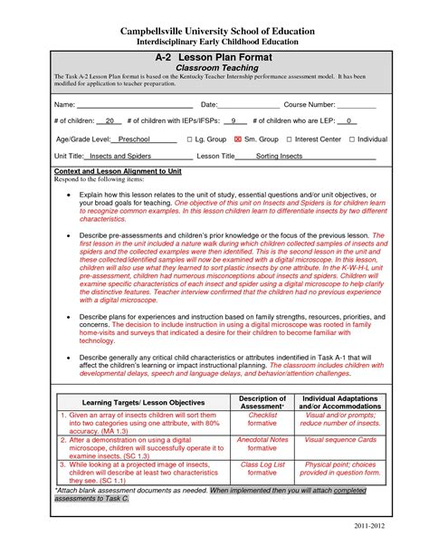 Edtpa Sle Lesson Plans World Of Exles Edtpa Lesson Plan Template