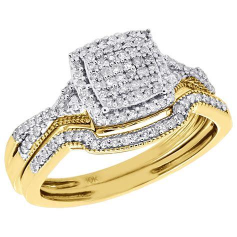 diamond wedding bridal set 10k yellow gold square cluster engagement ring 1 3 ct ebay