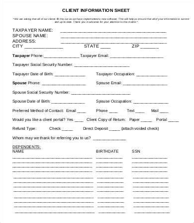 client information form template free client information sheet template 15 free word pdf