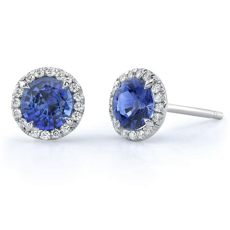 omi priv 233 sapphire and platinum stud earrings
