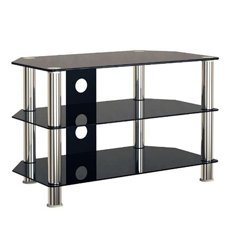 desktop black glass tv stand cabinet gloss 3 shelf for 30