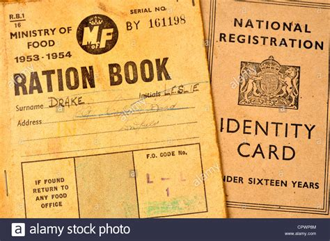 German Identity Card Template by Post World War 2 Ration Book And Identity Card Stock Photo