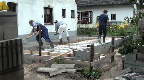 tuinhuis vloer storten beton storten fundering aanbouw bouwval youtube