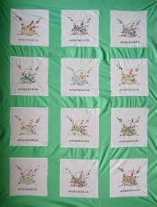 vintage embroidered baskets quilt top q is for quilter