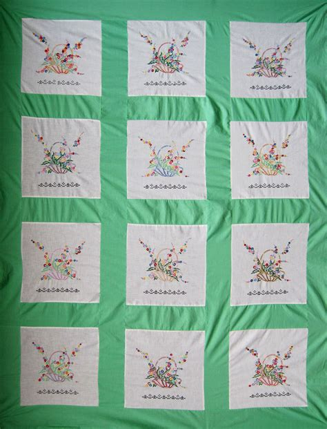 Embroidered Quilt Vintage Embroidered Baskets Quilt Top Q Is For Quilter