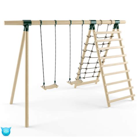 wooden swing seats double seats wooden swing 7 3d model max obj cgtrader com