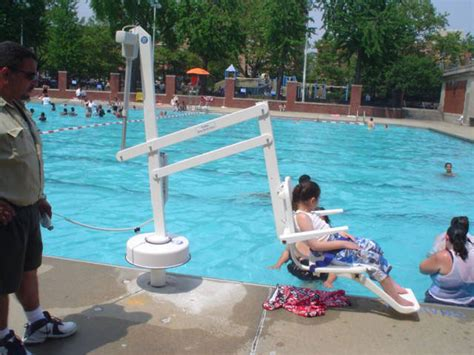Pool Chair Lift by History Of Accessibility In Parks Nyc Parks