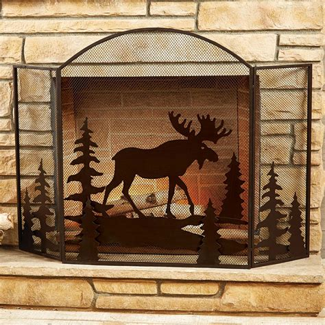 fireplace screen moose fireplace screen