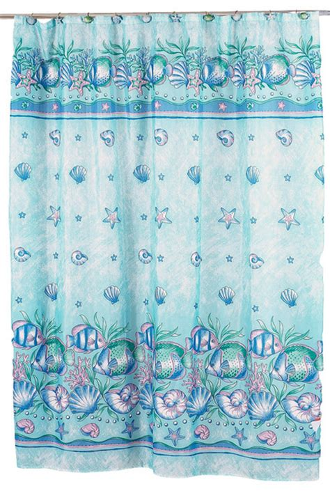 beach fabric shower curtain quot oceanic quot fabric shower curtain beach style shower