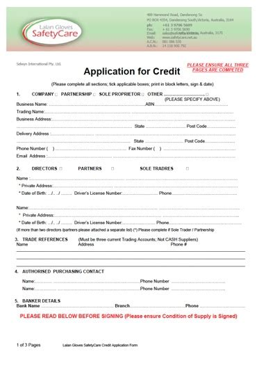 Credit Application Template Australia Free credit application form safetycare australia