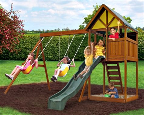 childrens wooden swing and slide sets outdoor swing sets uk outdoor furniture design and ideas