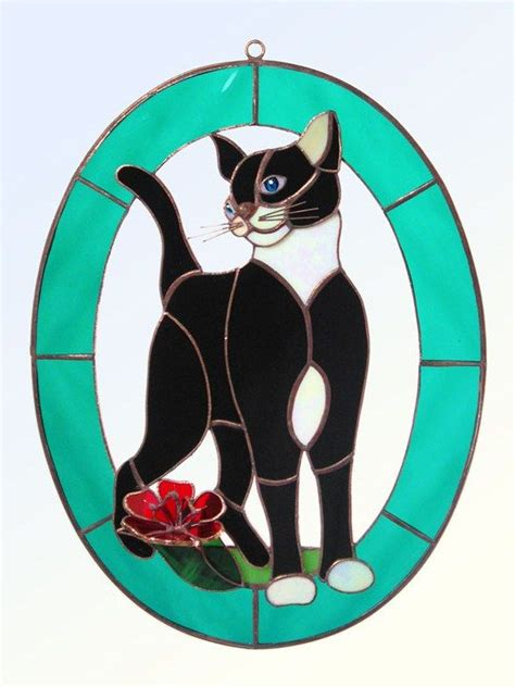 stained glass cat pin by kathy dunn on stained glass cats dogs pinterest