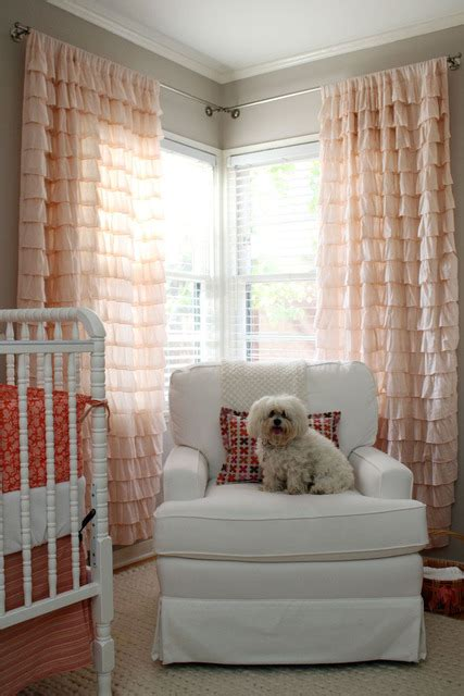 Ruffled Curtains Nursery Pink Drapes Contemporary Nursery Apartment Therapy