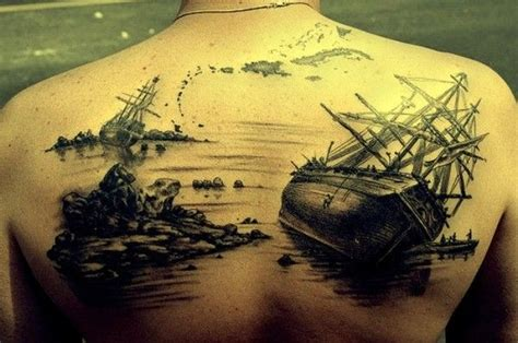 sunken ship tattoos awesome sunken ships on whole back tattooimages biz