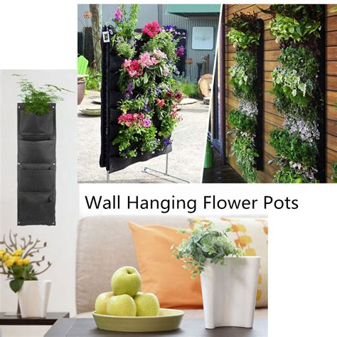 Wall Flower Planters by Decorative Indoor Wall Mounted Fabric Polyester Hanging 4