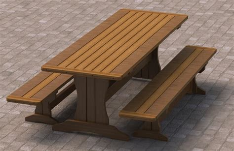 picnic benches plans 8ft trestle style picnic table with benches 002 building