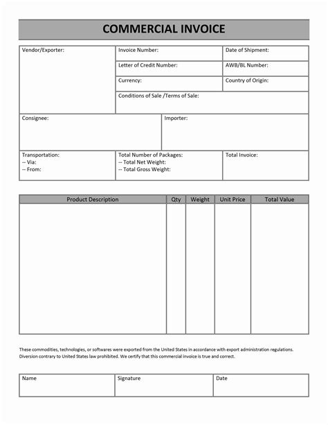 Commercial Invoice For International Shipping Invoice Template Ideas Simple Commercial Invoice Template